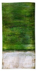 Art Print Green White Beach Towel