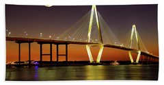 Arthur Ravenel Bridge At Night Beach Towel