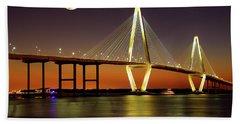 Arthur Ravenel Bridge At Night Beach Sheet