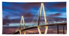 Arthur Ravenel Bridge At Night Beach Sheet