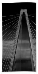 Arthur Ravenel Jr Bridge Beach Sheet by DigiArt Diaries by Vicky B Fuller