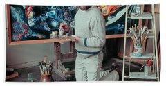 Artist In His Studio Beach Sheet by Vladimir Kholostykh