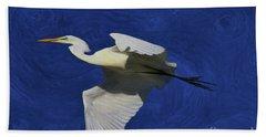Beach Towel featuring the painting Artistic Egret by Deborah Benoit