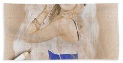 Artistic Pencil Drawing Of A Sailor Pinup Woman Beach Towel