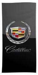 Cadillac - 3d Badge On Black Beach Towel by Serge Averbukh