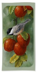 Apple Chickadee Greeting Card 3 Beach Sheet by Crista Forest