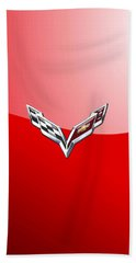 Chevrolet Corvette - 3d Badge On Red Beach Towel by Serge Averbukh