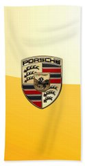 Porsche - 3d Badge On Yellow Beach Towel by Serge Averbukh