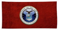 U. S.  Air Force  -  U S A F Emblem Over Red Velvet Beach Towel by Serge Averbukh