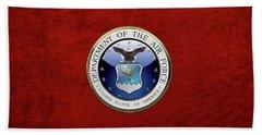 U. S.  Air Force  -  U S A F Emblem Over Red Velvet Beach Towel