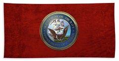 U. S.  Navy  -  U S N Emblem Over Red Velvet Beach Towel