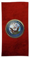 U. S.  Navy  -  U S N Emblem Over Red Velvet Beach Towel by Serge Averbukh