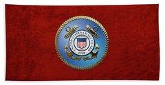 U. S. Coast Guard - U S C G Emblem Beach Towel