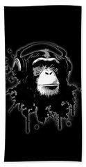 Monkey Business - Black Beach Towel by Nicklas Gustafsson