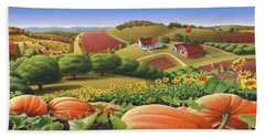 Farm Landscape - Autumn Rural Country Pumpkins Folk Art - Appalachian Americana - Fall Pumpkin Patch Beach Towel