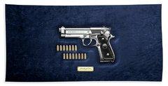 Beretta 92fs Inox With Ammo On Blue Velvet  Beach Towel