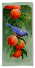Bird Painting - Bluebirds And Peaches Beach Towel