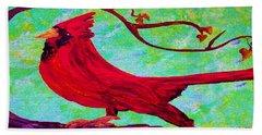 Beach Sheet featuring the painting Festive Cardinal by Eloise Schneider