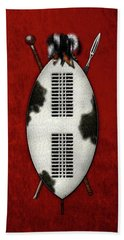 Zulu War Shield With Spear And Club On Red Velvet  Beach Towel