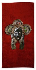 Dan Dean-gle Mask Of The Ivory Coast And Liberia On Red Velvet Beach Towel
