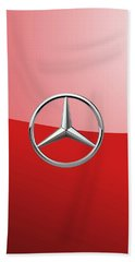 Mercedes-benz - 3d Badge On Red Beach Towel by Serge Averbukh