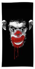 Evil Monkey Clown Beach Sheet by Nicklas Gustafsson