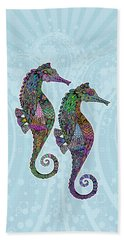 Beach Towel featuring the drawing Electric Seahorses by Tammy Wetzel