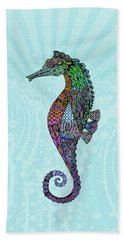Beach Towel featuring the drawing Electric Gentleman Seahorse by Tammy Wetzel