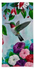 Hummingbird Greeting Card 1 Beach Towel by Crista Forest