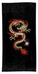 Golden Chinese Dragon Fucanglong On Black Silk Beach Towel