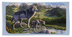 Wolf Painting - Passing It On Beach Sheet by Crista Forest
