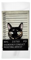 Kitty Mugshot Beach Towel