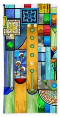 Art Deco Stained Glass 1 Beach Towel