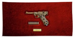 Krieghoff Presentation P.08 Luger With Ammo Over Red Velvet  Beach Towel