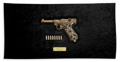 Krieghoff Presentation P.08 Luger With Ammo Over Black Velvet Beach Towel