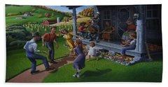 Porch Music And Flatfoot Dancing - Mountain Music - Appalachian Traditions - Appalachia Farm Beach Towel
