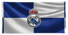 Real Madrid C F - 3 D Badge Over Flag Beach Towel by Serge Averbukh
