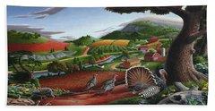 Wild Turkeys Appalachian Thanksgiving Landscape - Childhood Memories - Country Life - Americana Beach Towel