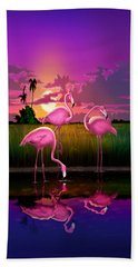 Flamingoes Flamingos Tropical Sunset Landscape Florida Everglades Large Hot Pink Purple Print Beach Towel