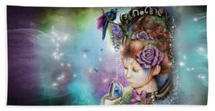 Beach Towel featuring the drawing Tea And Periwinkle by Sheena Pike