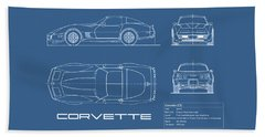 Corvette C3 Blueprint Beach Towel