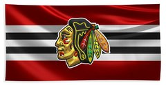 Chicago Blackhawks - 3 D Badge Over Silk Flag Beach Towel by Serge Averbukh
