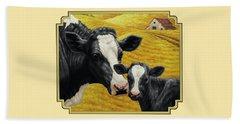 Holstein Cow And Calf Farm Beach Sheet by Crista Forest