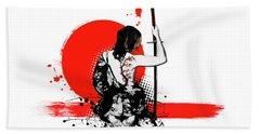 Trash Polka - Female Samurai Beach Sheet by Nicklas Gustafsson
