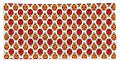 Ladybug Pattern In Orange And Red Beach Towel