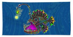 Beach Towel featuring the drawing Electric Angler Fish by Tammy Wetzel