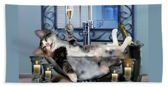 Funny Pet Print With A Tipsy Kitty  Beach Towel