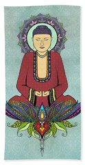 Beach Towel featuring the drawing Electric Buddha by Tammy Wetzel