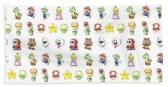 Mario Characters In Watercolor Beach Towel