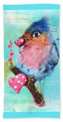 Beach Towel featuring the mixed media Love Bird by Sheena Pike
